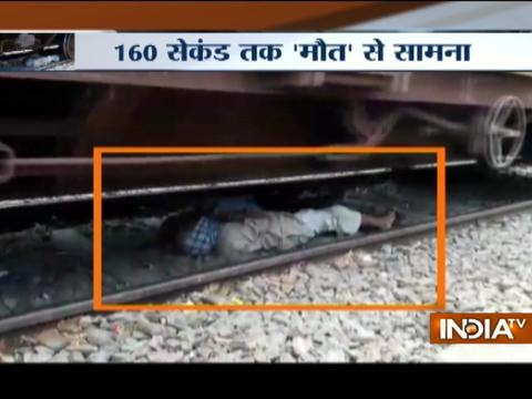 UP: Shocking video shows daring rescue of man lying on rail tracks in Jalaun district