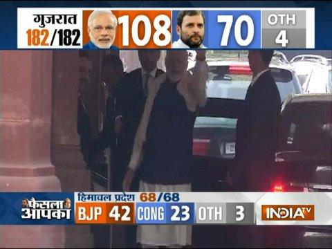 Assembly Poll Result: PM Modi shows victory sign after BJP wins in Gujarat & Himachal