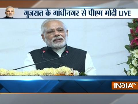 PM Modi speaking at 'bhoomi poojan' of redevelopment of Gandhinagar railway station