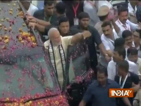 PM Narendra Modi's roadshow in Rajkot. PM two-day visit to Gujarat begins today