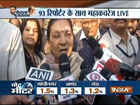 Former Gujarat CM Anandiben Patel addresses media after casting her vote in Ahmedabad