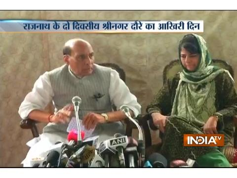 Rajnath Singh and Mehbooba Mufti conducts a joint press-conference in Jammu and