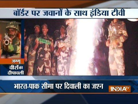 Soldiers celebrating Diwali at Indo-Pak border