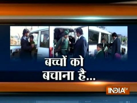 Haryana: 7-seater school van overloaded with 38 children in Sonipat