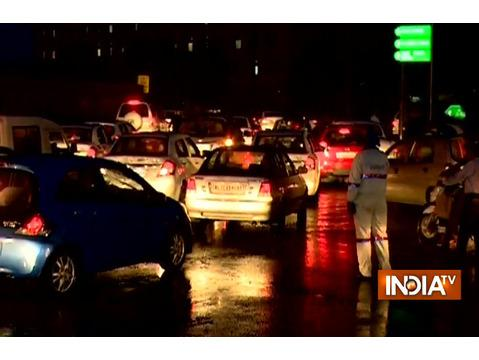 Heavy rainfall causes traffic congestion in several parts of the Delhi NCR