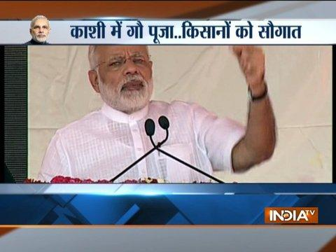 PM Modi lays foundation for toilet under Swachh Bharat Abhiyan in Shahanshahpur
