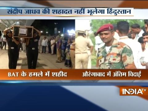 Mortal remains of Army jawan Sandeep Jadhav brought to Aurangabad, Maharashtra