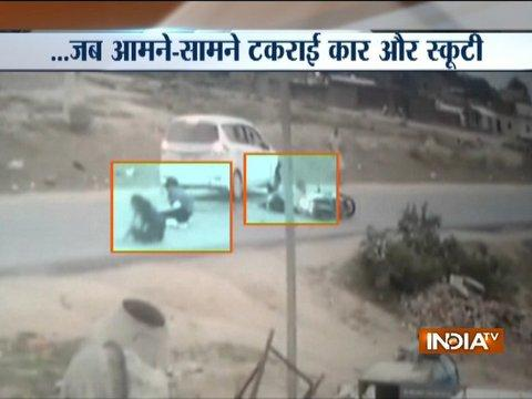 Caught On Camera: Close shave for MP girls after scooty collides head-on with car