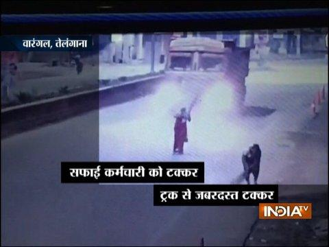 CCTV: Truck mows down woman in Telangana