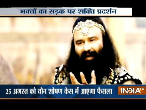 Ram Rahim followers gather in Panchkula in large numbers ahead of court verdict