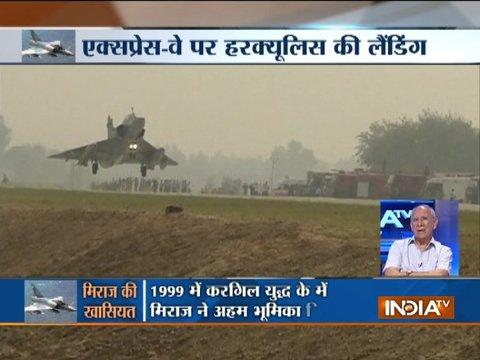 Three Mirage 2000 fighter jets land on the Lucknow-Agra expressway near Unnao