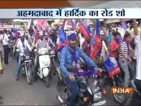 Gujarat Polls: Amid restrictions, Hardik Patel holds massive road show in Ahemdabad