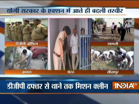 After Yogi's surprice visit, police officers grabs broom to clean office and corridor