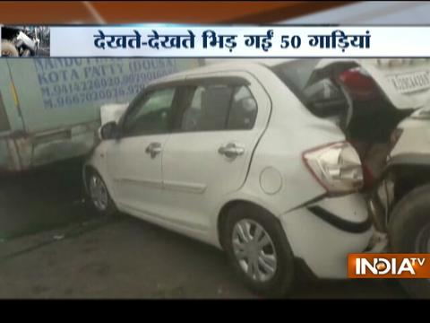 Mass vehicle collision on Jaipur-Agra National Highway due to dense fog