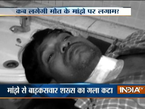 Biker badly injured by Chinese manjha in Delhi