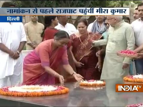 Opposition Presidential candidate Meira Kumar pays tribute at Rajghat before filing her nomination