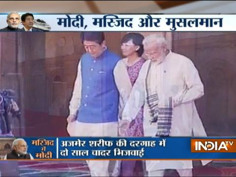 PM Modi, Japanese PM Shinzo Abe & his wife Akie Abe visit Sidi Saiyyed mosque