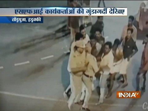 Caught on CCTV: SFI members attack police in Kerala