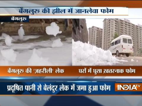 Toxic foam from Varthur lake floods the streets of Bengaluru