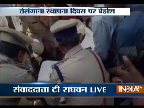 Telangana Deputy CM Faints During Telangana Formation Day Celebration