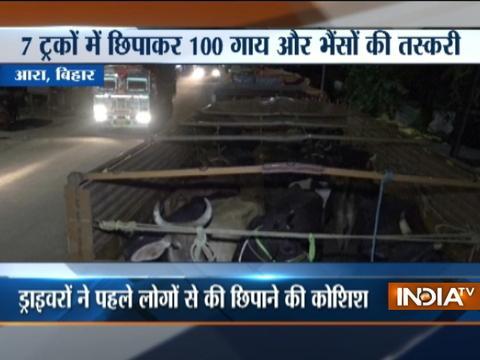 Truck carrying cattles detained by Bajrang Dal activists in Bihar's Bhojpur