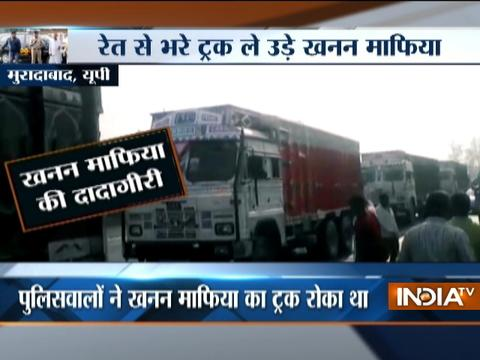 Police left to watch as sand mafias run away with truck full of sand in Moradabad