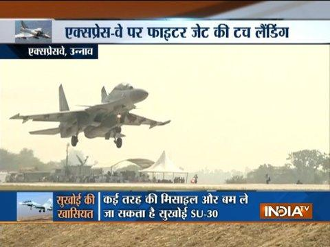Indian Air Force's Sukhoi 30 MKI makes a touchdown on Lucknow-Agra Expressway