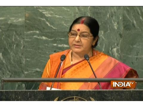 Sushma Swaraj addresses the 71st session of UN General Assembly in New York