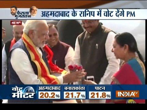 CM Vijay Rupani, Anandiben and others welcome PM Modi in Ahmedabad