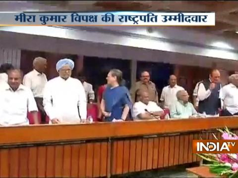 Opposition briefs media after naming Meira Kumar as Its Presidential Candidate