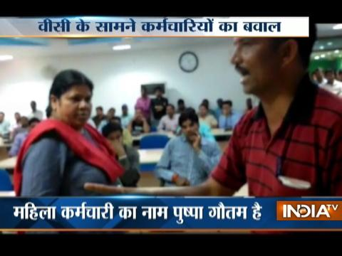 Caught On Camera: Woman employee beaten up in front of VC in Bundelkhand University