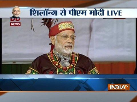 PM Narendra Modi addresses rally in Shillong