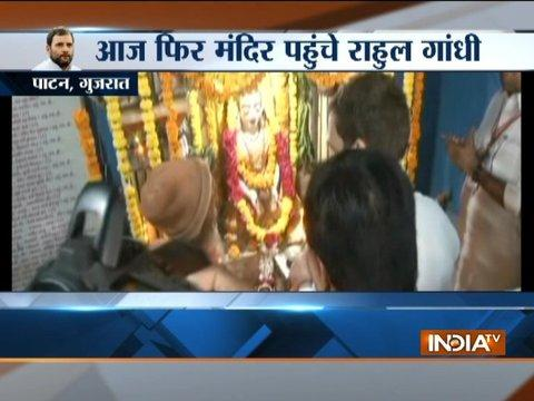 Gujarat: Congress Vice President Rahul Gandhi visits Patan's Vir Megh Maya Temple