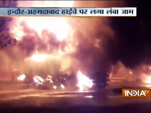 Indore-Ahmedabad national highway blocked after Tanker catches fire