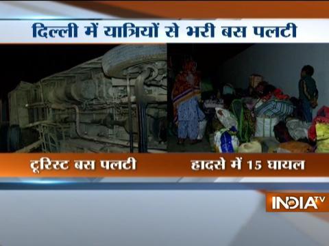 15 injured as tourist bus crashes into divider in Delhi