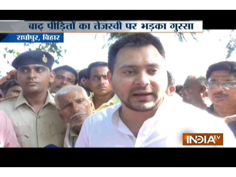 Bihar Deputy CM Tejaswi Yadav meets flood victims in his constituency