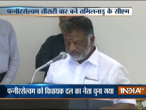 Panneerselvam sworn in as Tamil Nadu Chief Minister for third time