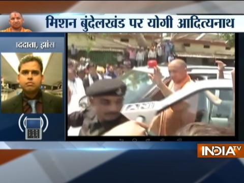 Uttar Pradesh Chief Minister Yogi Adityanath arrives in Jhansi