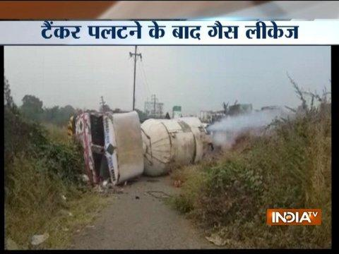 Watch: Gas tanker overturns on Mumbai-Nashik highway