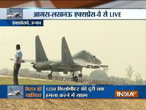 IAF Sukhoi fighter jets aircraft carry out flypast over Agra-Lucknow Expressway