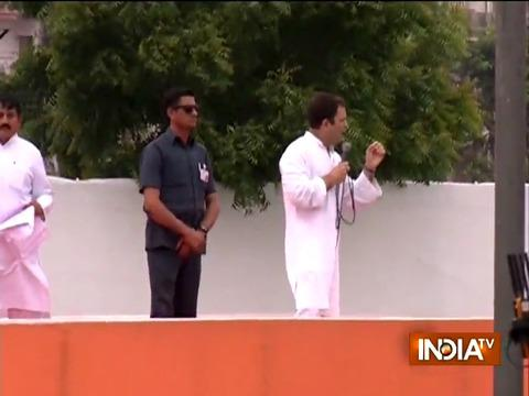 Rahul Gandhi addresses a public gathering in Ahmedabad