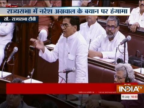 Uproar in Rajya Sabha over SP leader Naresh Agarwal's remarks on Hindu gods