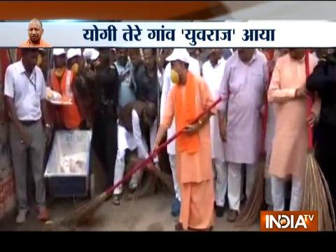 Yogi brooms road in Gorakhpur, urge people to keep their surrounding clean