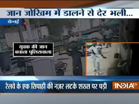 CCTV: Man escapes death while trying to board in Chennai