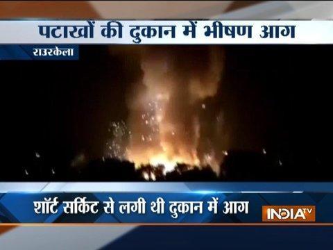 Odisha: Fire in cracker shop in Rourkela market