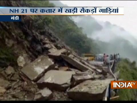 Himachal Pradesh: NH 21 blocked after landslide in Pandoh area of Mandi district