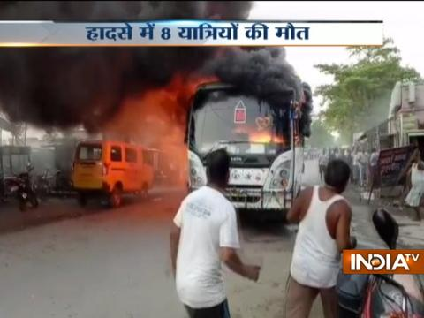 Passenger bus catches fire in Bihar, 8 dead