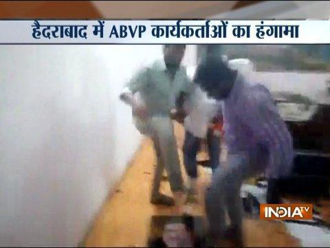 ABVP workers vandalise office of principal in Hyderabad University