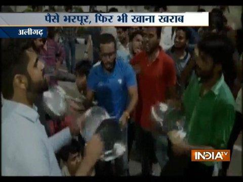 AMU students protest against poor quality of food in canteen