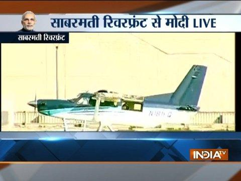 Gujarat Assembly Elections: PM Modi reaches Ahmedabad's Sabarmati riverfront in a seaplane